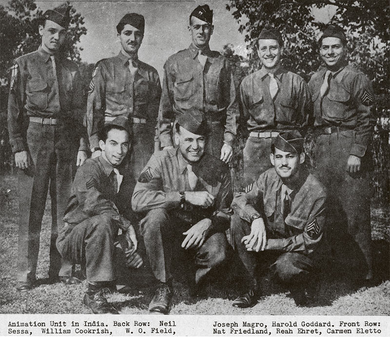 Joe Magro serving during World War II, 1945. Top row, second from left.
