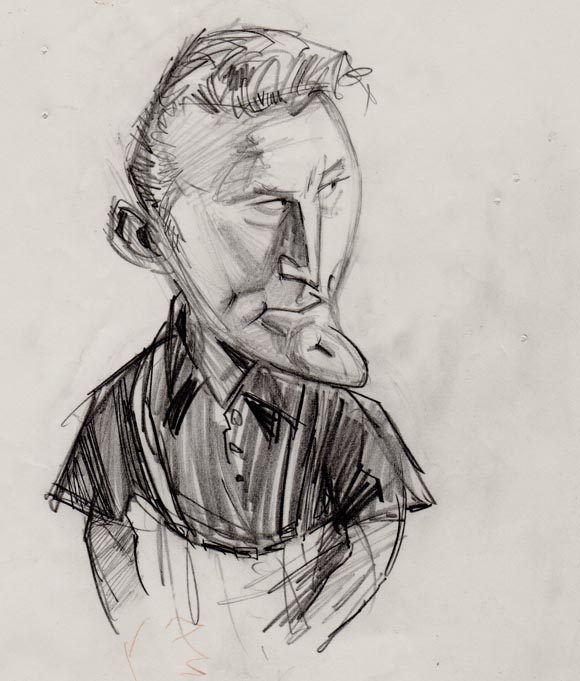 "Kirk Douglas concept art for ""The Big Story."""