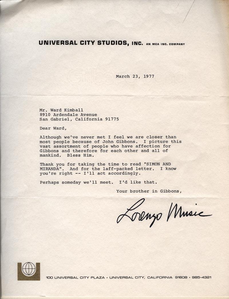 Lorenzo Music letter.