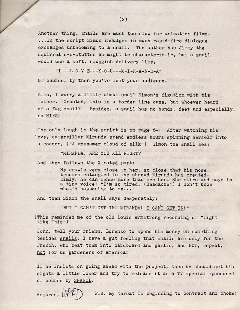 Ward Kimball letter.