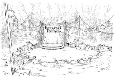 Early concept design drawing of the stage area in the center of the Smurf village.