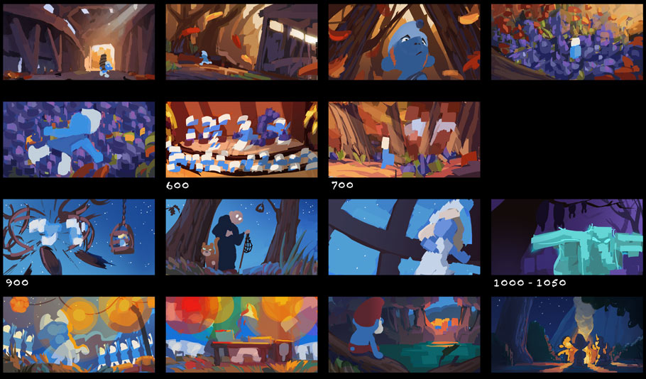 Color script establishes the color arc of the short film and how it relates to the story.