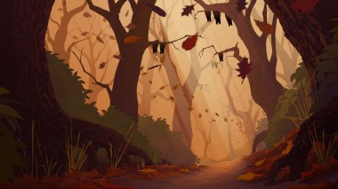 Concept painting establishing the design, look and feel of the scary forest location.