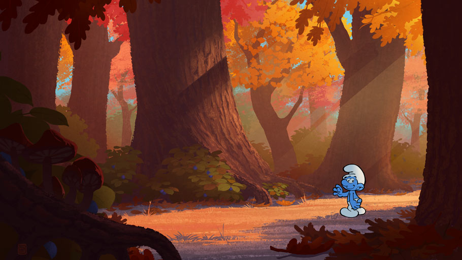 Concept painting establishing the design, look and feel of the daytime happy forest.