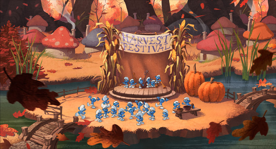 Early concept painting of Smurf village, used to help establish the general look and feel of the film.