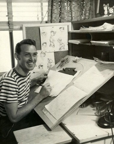 "Don Lusk animating on ""Pinocchio,"" ca. 1940."