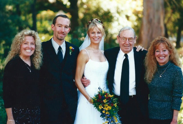 Don at his grandson's wedding ,2000. Two of his daughters are standing at the far ends.