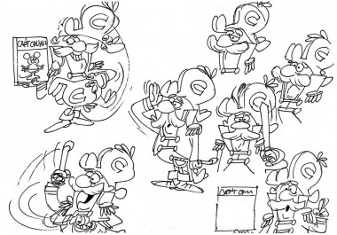 His original concept was expanded on by Roy Morita, who fleshed out the Cap'n's personality through expressive model sheets.