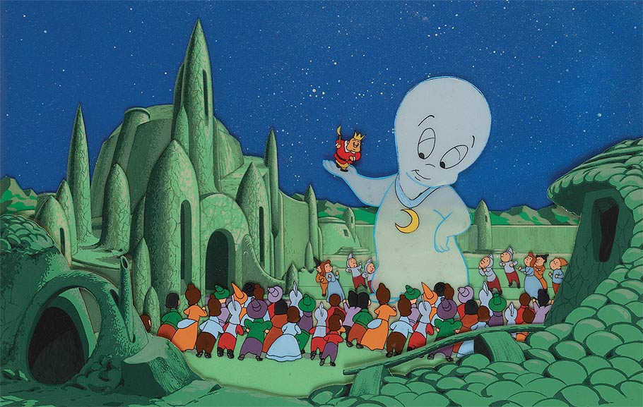Production cel and background from the 1954 3-D Casper short Boo Moon.