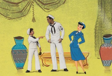 Production cel and background from animated sequence of the 1956 MGM feature Invitation to the Dance.