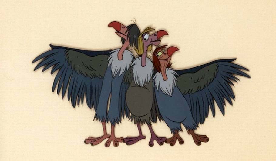 Production cel of the Vultures from The Jungle Book.