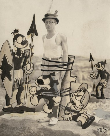 1924 publicity photo of Dinky Doodle with Walter Lantz and original artwork.