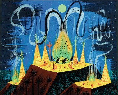 "Mary Blair concept painting of the ""Indian Village"" from Peter Pan."