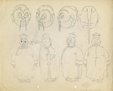Model drawing from the 1935 MGM short The Chinese Nightingale.