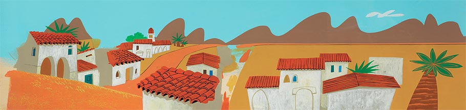 Pan production background from a 1960s Speedy Gonzales theatrical short.