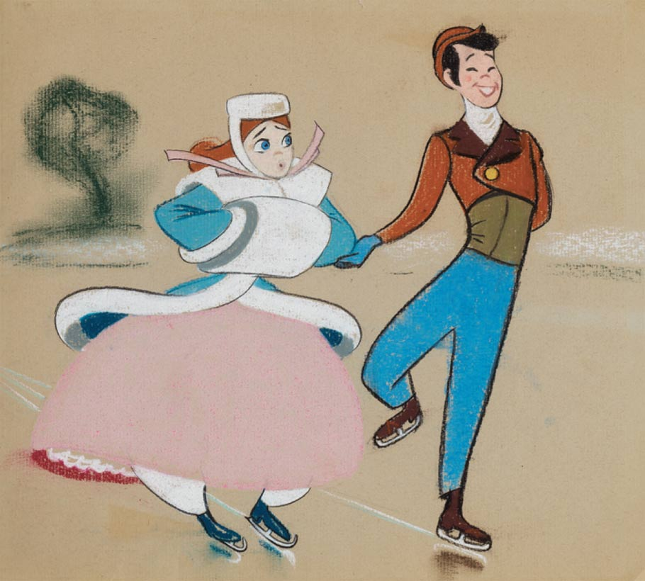 "Pastel concept art from Melody Time's ""Once Upon a Wintertime"" sequence."