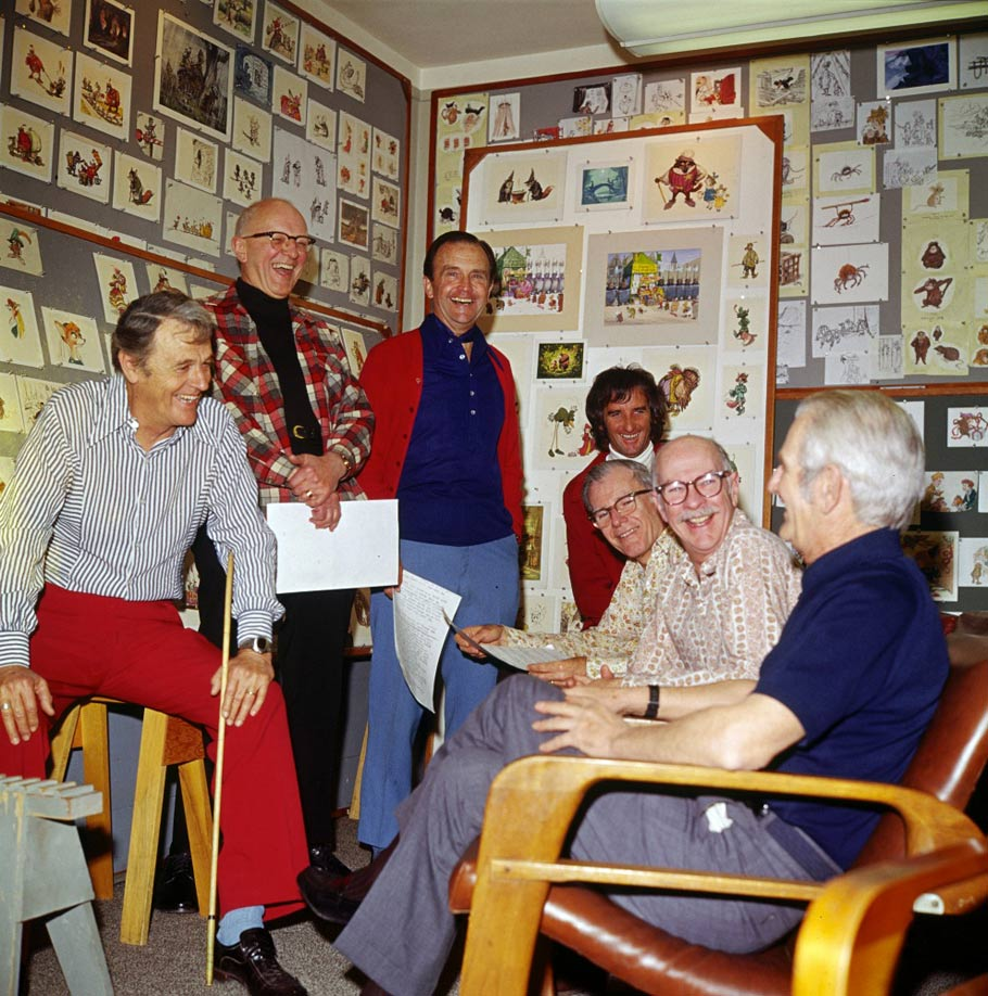 A Robin Hood story meeting with, from l. to r., Woolie Reitherman, Milt Kahl, Ken Anderson, Dave Michener, Frank Thomas, Ollie Johnston and Larry Clemmons. Photo Andreas Deja.
