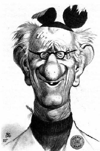 Larry Clemmons as he looked during the time Hulett worked with him. Caricature by Ward Kimball.