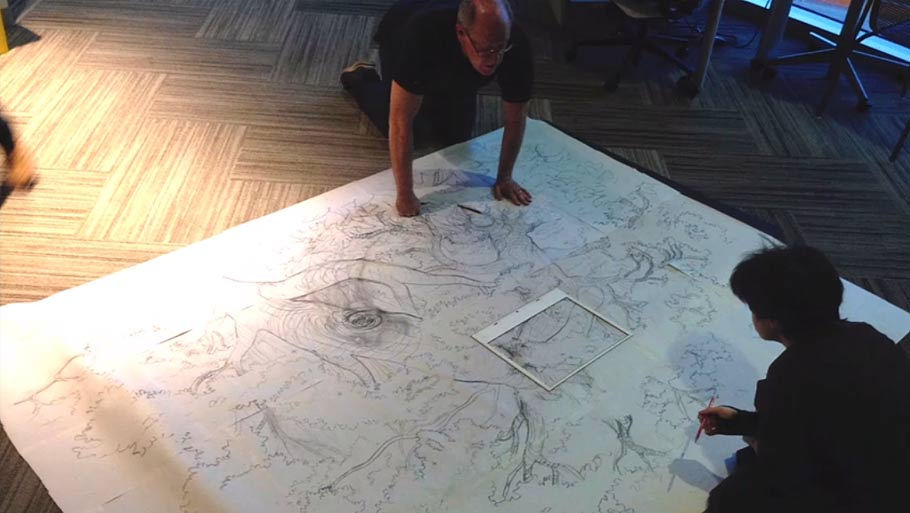 "Glen Keane working on ""Duet."" (Click for larger version.)"