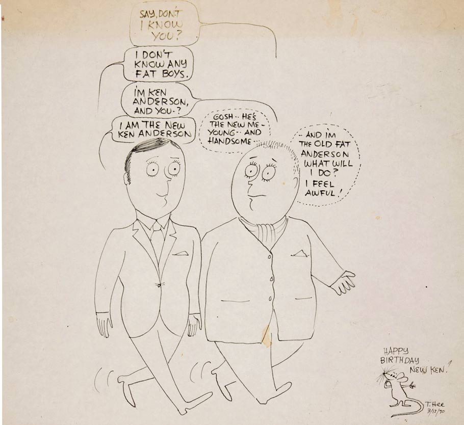 Gag drawing of Ken Anderson by T. Hee, 1970. Click for larger version.