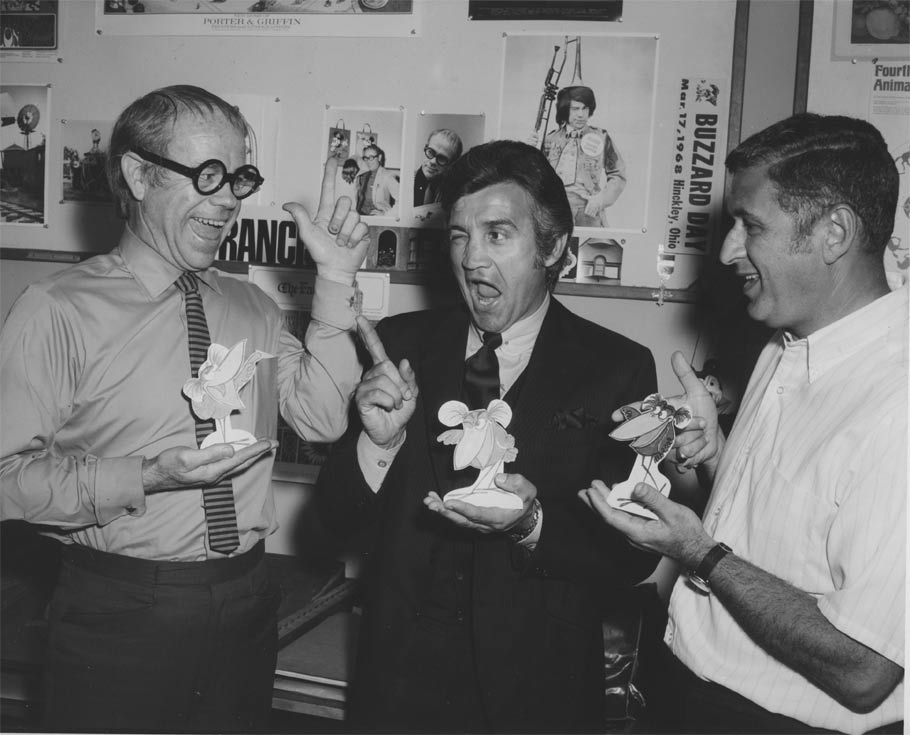 Ward Kimball, Richard Bakalyan and Ted Berman during the production of It's Tough to Be a BirdM (1969). Click for larger version.