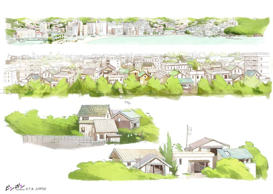 This piece was made to show the background staff how to draw and paint buildings, and the amount of detail needed based on different distances.