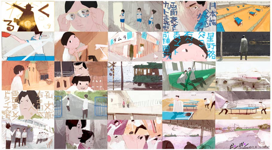"Color scripts are not commonly used in Japanese animation, but Aymeric Kevin created a color script for the short ""Kick-Heart"" which director Masaaki Yuasa found useful. This led Kevin to create a color script for every episode of ""Ping Pong."""