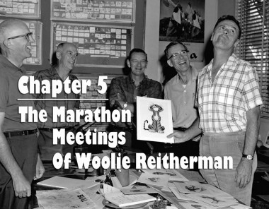 "A Woolie Reitherman meeting on ""Jungle Book"" with (l. to r.) Milt Kahl, Ollie Johnston, John Lounsbery, Frank Thomas, and Reitherman. Photo via Andreas Deja."