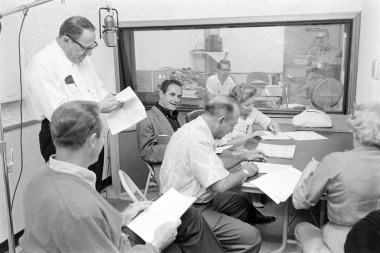 "Joe Barbera at a ""Flintstones"" voice recording session with Mel Blanc, Alan Reed, Jean Vander Pyl and Bea Benaderet."