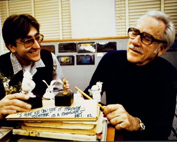 "Art Stevens (right) with Ruben Procopio during the production of ""The Black Cauldron."" (Photo via Ruben Procopio's blog.)"