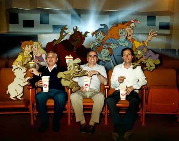 """The Black Cauldron"" director Ted Berman (left), producer Joe Hale (center), and director Richard Rich. (Photo via Andreas Deja.)"