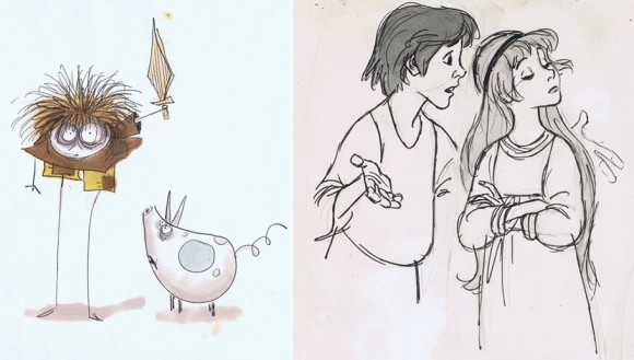 Different takes on the main character Taran by Tim Burton (left) and Milt Kahl. (Photo via Andreas Deja.)