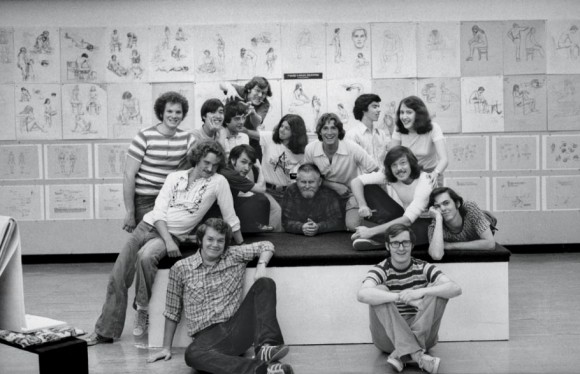 The 1976 Character Animation class, with teacher Elmer Plummer (center). Among those pictured are Brad Bird, John Musker