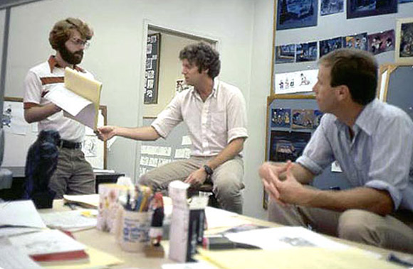 "L to R: Ron Clements, Pete Young and Steve Hulett working on ""The Great Mouse Detective."""
