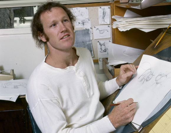 "Glen Keane working on ""The Fox and the Hound."""