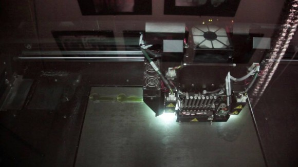 "A 3-D printer used to print out charactes from ""The Boxtrolls."""