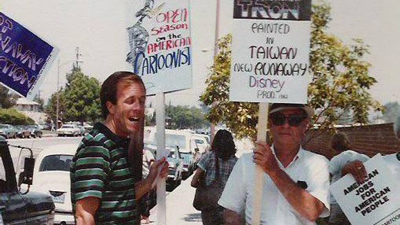 Steve Hulett (left) and Vance Gerry participating in the 1982 Motion Picture Screen Cartoonists strike.