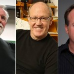 VIEW keynote speakers (l. to r.): Alvy Ray Smith, Glen Keane, Tom McGrath.