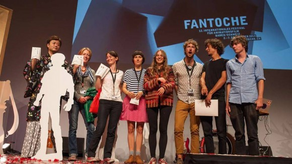 Fantoche 2014 festival winners, from left to right: MIrai Mizue, Dictynna Hood, Anna Benner, Olesya Shchukina, Joana Locher, Mauro Carraro, Mathieu Epiney, Nils Hedinger (click to enlarge).