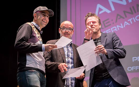 Anim'est feature/short film jury members Amid Amidi, Christian Pfohl and Robert Morgan. (Photo by Ionut Dobre.)