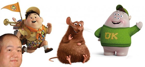Pete Sohn and characters he's inspired (l. to r.) Russell, Emile and Squishy. (Photo of Sohn: Shutterstock)