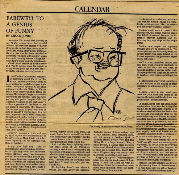 Click to read the entire piece written by Chuck Jones for the Sunday, August 31, 1980 edition of the Los Angeles Tribune.