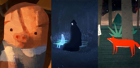 """From left to right: """"The Dam Keeper,"""" """"Coda,"""" """"Symphony No. 42."""""""