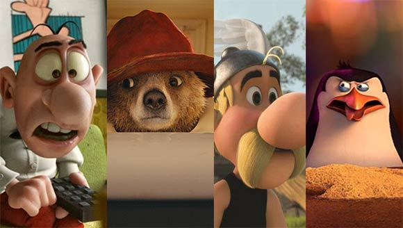 """From left to right: """"Mortadelo y Filemón contra Jimmy el Cachondo,"""" Paddington,"""" """"Astérix-Le Domaine des Dieux,"""" """"Penguins of Madagascar"""""""