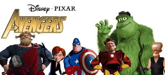 Pixar-Marvel mashup illustration by J.M. Walter.