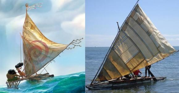 Concept art from Moana (left) and traditional Fijian camakau (photo via WCS Fiji).