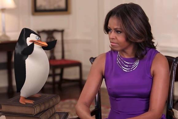 michelle obama promotes  u0026 39 the penguins of madagascar u0026 39