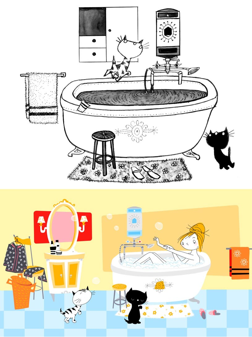 "Top: Original ""Pim and Pom"" drawing (1962); bottom: still from the film."