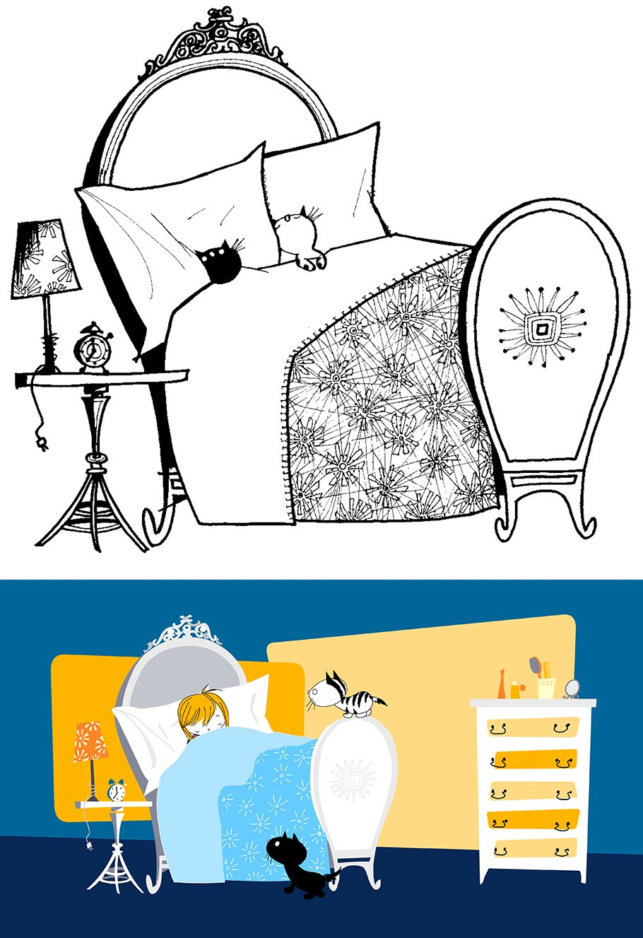 "Top: Original ""Pim and Pom"" drawing by Fiep Westendorp (ca. 1967, ©Fiep Amsterdam bv, Fiep Westendorp Illustrations); bottom: Still from the movie ""Pim and Pom: The Big Adventure"" (2014)"