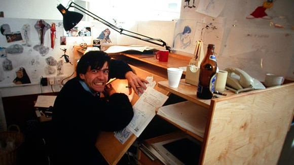 "Uli Meyer working on ""Who Framed Roger Rabbit"" in 1987. (Photo via Hans Bacher's excellent blog.)"
